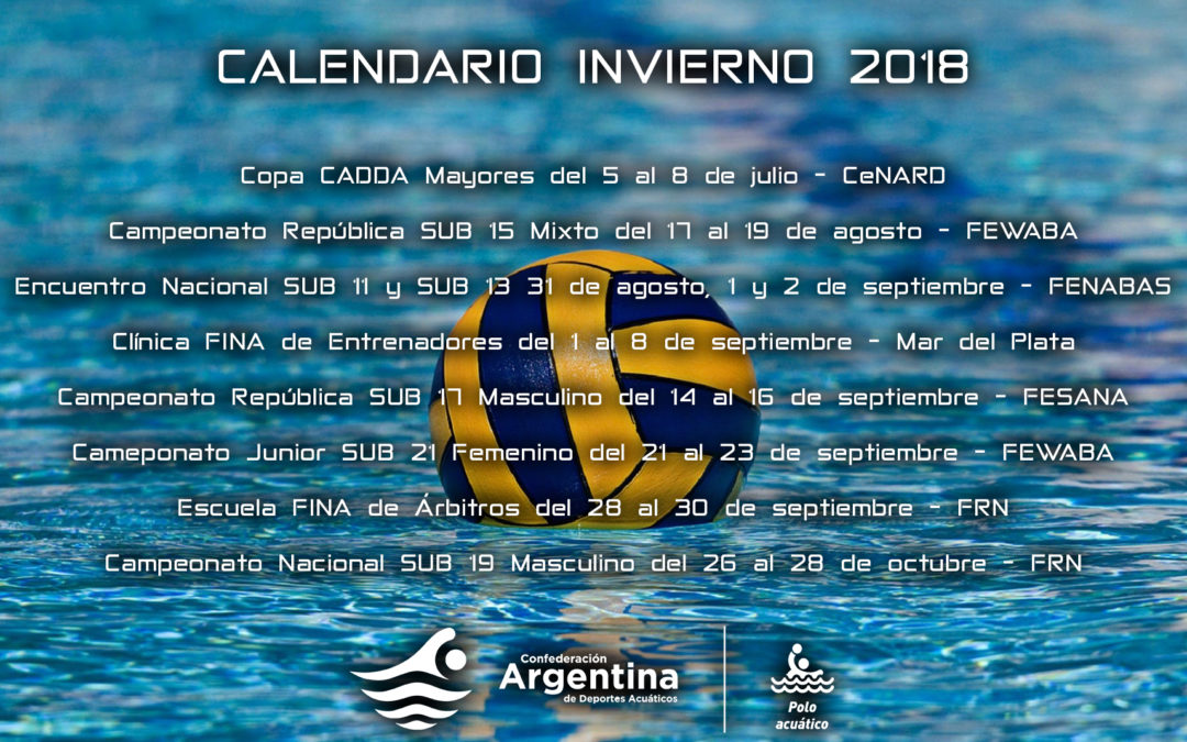 Calendario de invierno para polo acuátrico
