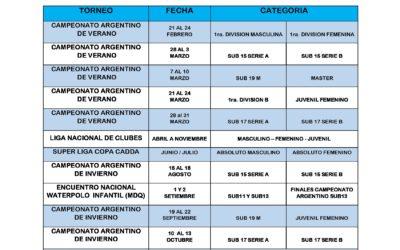 Calendario de Polo Acuático 2019