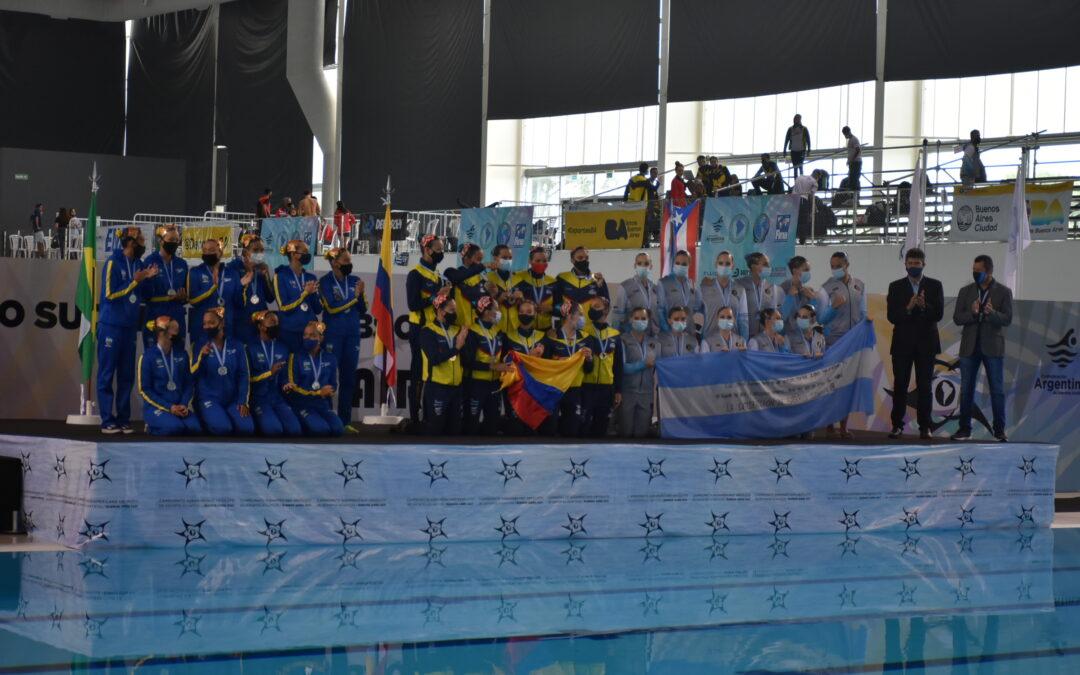 Podio de jornada 4 de natación artística en el Sudamericano de Deportes Acuáticos