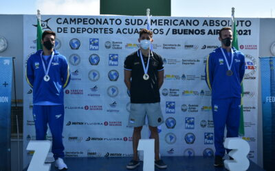 Podio de la carrera de 5K de aguas abiertas del Sudamericano De Deportes Acuáticos.