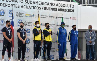 Podio de clavados del Sudamericano De Deportes Acuáticos.
